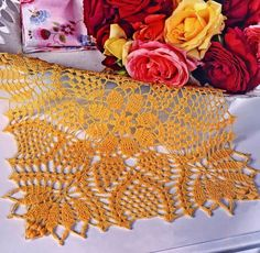 Crochet Art:  Beautiful square crochet lace mat pattern