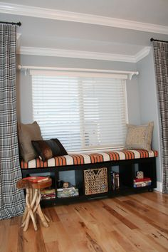 making a window seat from an ikea expedit bookcase