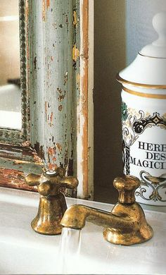 amazing brass fixture and antique mirror -Gracious Interiors - Traditional Style - Bathrooms
