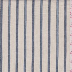 Tan/Blue Stripe Linen - 32877 - Fabric By The Yard At Discount Prices