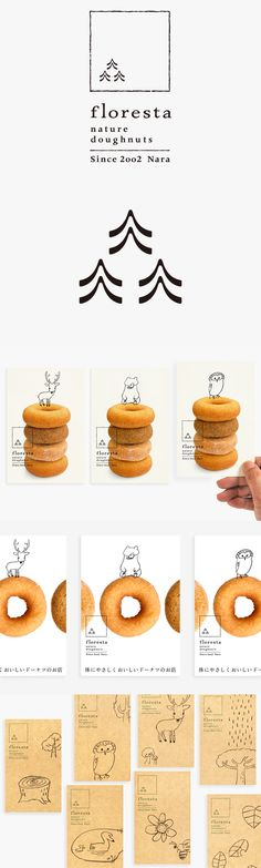 Floresta / Natural Donuts / animals / sketches / drawings / branding / identity / drawing / logo / brochure