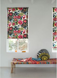 bright patterned blinds - well, it's different to my white obsession