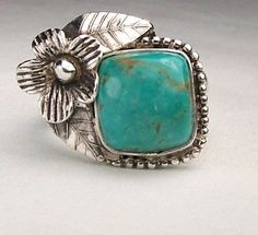 Silver Arizona Kingman Turquiose Ring by CashmereJewels on Etsy, $85.00