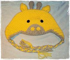 giraffe hat _ free pattern hats, crochet hat, giraff hat, earflap, patterns, giraff beani, babi, crochet pattern, giraffes