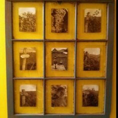 An old window frame that I antiqued and put sepia tone pictures from a wine tour from my honeymoon in Vermont.