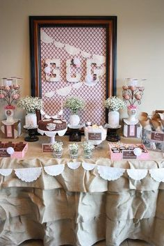 Pink and Brown Lace Party Inspiration: Lace Print Cupcakes, Babys Breath in Jars