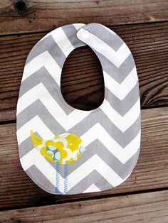 Grey with citron chevron stripe bib by PaisleyPockets, $8.00