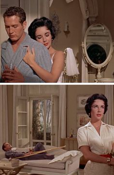 Paul Newman & Elizabeth Taylor in Cat on a Hot Tin Roof (one of my favorite movies ever). Is there anyone more handsome than Paul Newman?