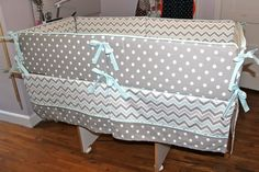 EEK's boutique: gray and blue chevron & dots nursery completed