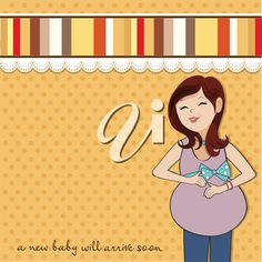 iCLIPART - happy pregnant woman, baby shower card, vector format