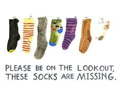 Missing Socks  Print  by kellylasserre on Etsy