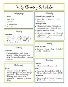 idea, life, stuff, household, daili clean, organ, cleaning schedules, clean schedul, thing