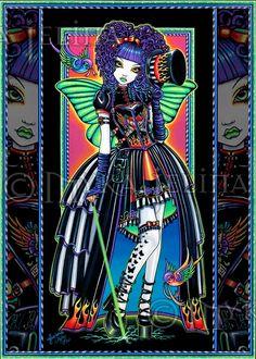 Juxtapose Rainbow Carnival Fairy Swallow Tattoo by MykaJelina, $7.00 juxtapos, jelina art, carniv fairi, mykajelina, fantasi art, rainbow carniv, esti art, tattoo, myka jelina
