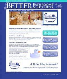 Better Bathrooms & Kitchens.  Hand-coded HTML site with search engine optimization and submission. Design by Sue England at http://www.senglanddesign.com. better bathroom, kitchen remodeling