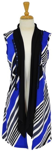 Blue Black White Vest~ Best selection of Tunics & matching accessories ~ Flat postage worldwide ~ Petite to Plus sizes ~ www.ilovetunics.com