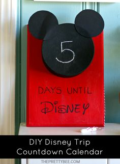 Countdown to your Disney vacation with this Mickey calendar that has space for a prize inside!