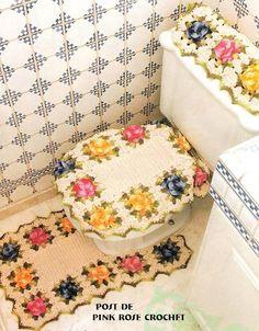 Uncinetto d'oro: Completo per bagnio!  (Roses Bathroom Set) Charts... rose bathroom, bathroom set, bathroom crochet