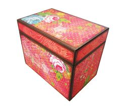 Handmade Large Red Wooden Collage Recipe Box for 4x6 Cards
