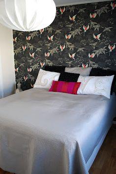 Nice bedroom with nice wallpaper