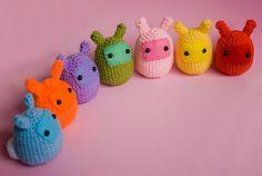 #Amigurumi Rainbow Bunny Blobs.  Cute for modern spring decor