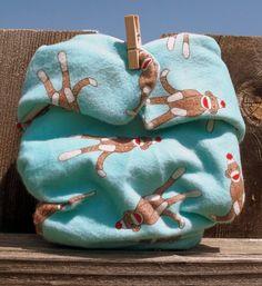 Waterproof Flannel Diaper Cover Blue Sock Monkey by RebelCloth, $12.00
