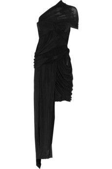 Carven|Asymmetric stretch-satin dress|NET-A-PORTER.COM - StyleSays