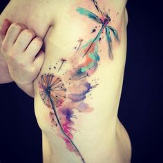 dragon flies, watercolour tattoos, watercolor tattoos, paint, a tattoo, artist, dragonfly tattoo, tattoo ink, flower