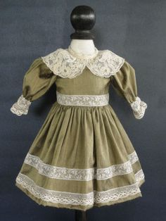 French Doll Dress - Antique Style for Jumeau,Bru. 12-14 doll - Made in France.  SAMANTHA