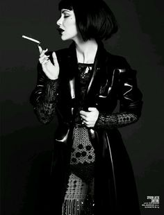 Stunning songstress Katherine McPhee paid homage to iconic actress Anjelica Huston in a recent spread for 7Hollywood Magazine. Stylist Robert Reyes created a dark and sultry look by dressing Ms. McPhee in a Syren Couture black latex trenchcoat - Available for sale soon!