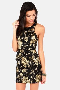 Rose and Cons Gold and Black Dress at LuLus.com! #lulus #holidaywear