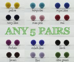 Any 5 Pairs - Choose Your Colors - Matte Small Stud Earrings 9mm - Everyday Wear Stud - Simple Post Earrings - Unisex Studs Hypoallergenic