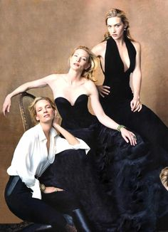 """Uma Thurman, Kate Winslet and Cate Blanchett  by Annie Leibovitz.  Anna-Lou """"Annie"""" Leibovitz is an American portrait photographer, born October 2, 1949 in Connecticut. Annie Leibovitz is the mother of three children. At the age of 51, she had her daughter, Sarah. In 2005, her twin daughters, Susan and Samuelle, were born with the help of a surrogate mother."""