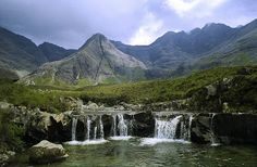 The Fairy Pools are a sequence of beautiful waterfalls and deep plunge pools in the Allt Coir' a' Mhadaidh in the Coire na Creiche within the Black Cuillin on Skye in Scotland - photo by bor borren via flickr