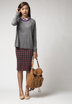 Mix patterns like a pro with this easy and chic outfit idea! Featured in this outfit: Welcome Backpack, Playtime Heel in Blush, Chemistry Cadre Dress, Bead Still My Heart Necklace in Purple, I'm Plaid You Asked Top #plaid #dress #sweater #chic #unique