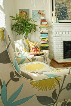A little bit of colour at home - Love the fabric pattern!