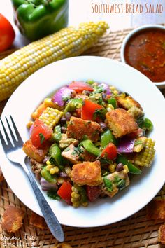 Southwest Bread Salad - loaded with fresh summer produce, grilled chicken, cornbread croutons, and a homemade southwest vinaigrette. #mypick...