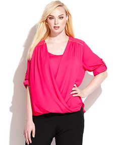 drape top in plus sizes from Macy's