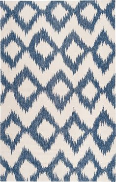 Frontier Collection 100% Wool Area Rug in Blue and Winter White design by Surya