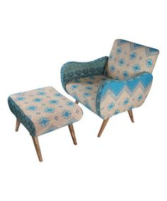 Another great find on #zulily! Blue Paisley Curved Arm Chair & Ottoman #zulilyfinds
