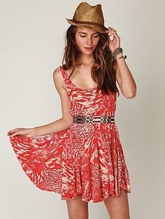 Free People Animal Godet Tank Dress at Free People Clothing Boutique - StyleSays