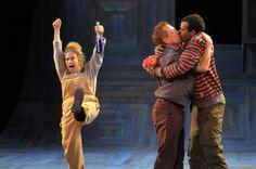 Joan Mankin as Snug, Danny Scheie as Bottom, and Lance Gardner as Flute in A Midsummer Night's Dream, 2009. #calshakes40th