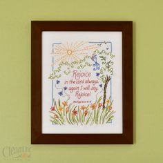Rejoice in the Lord 100 Cotton Embroidery by ClementinePatterns