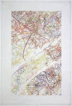 INGRID CALAME  #229 Drawing (Tracings up to the L.A. River placed in the Clark Telescope Dome, Lowell Observatory, Flagstaff, AZ), 2006  color pencil on trace mylar  72 X 48 inches