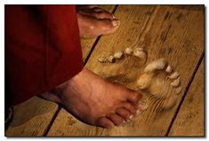 This is a photo of the floor where a Buddhist monk stood for 20 years in prayer. This amazes me
