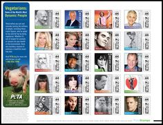 famous vegetarians - stamps created to benefit PETA