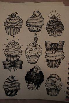 Cupcake tattoo ideas. I like the diamond one.