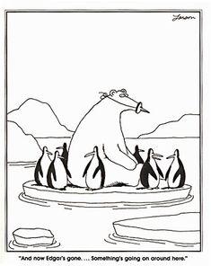 gari larson, funni stuff, laugh, polar bears, comic, the far side, penguin, humor, gary larson