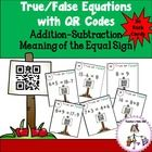 True/False Equations with QR Codes will have students practicing the meaning of the equal sign. The task cards use addition and subtraction facts with regard to the equal sign. This self-checking math center comes with 36 Task Cards. $