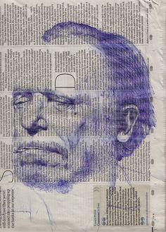 Portrait on newspaper