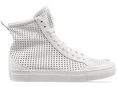 #MM6 #MaisonMartinMargiela Perforated High Top #Sneaker in White Leather #hightopsneaker #margiela